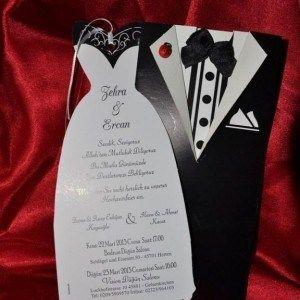 Gelin ve damatlı özel düğün davetiyesi
