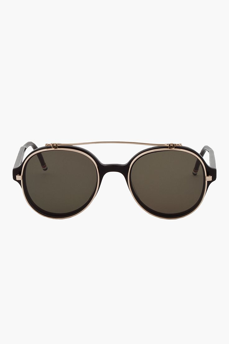 THOM BROWNE Black Round Aviator 12K Gold Flip Sunglasses