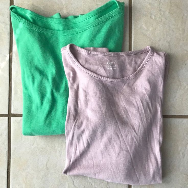 Gap Supersoft Women's Lot of 2 Lavender Green Cotton Modal Knit T Shirt Tops M #Gap #KnitTop #CasualLounge
