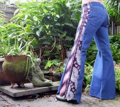 Levi Bell Bottom Tie Jeans OOAK with Vintage Neck Ties.  These are so cool I had to try my hand at making a pair.