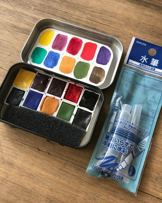Watercolor Handmade Watercolour Paint Set In A Black Travel Tin
