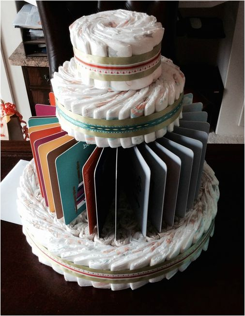 book-themed diaper cake #bookdiapercake #babyshower #bookbabyshower
