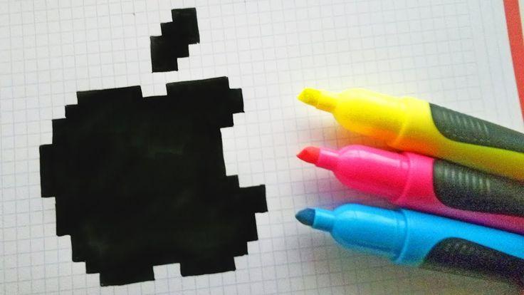 Handmade Pixel Art – How To Draw Logo Apple #pixel…
