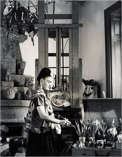 Frida Kahlo at studio: by Vicente Wolf