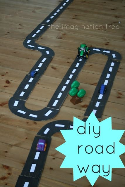 Make a homemade road-way for hours of imaginative play on the go, from a recycled cardboard box!: Diy Roads, Cardboard Roads, Cardboard Boxes, For Kids, Imagination Plays, Imagination Trees, Diy Craft, Kids Cars, Recycled Cardboard