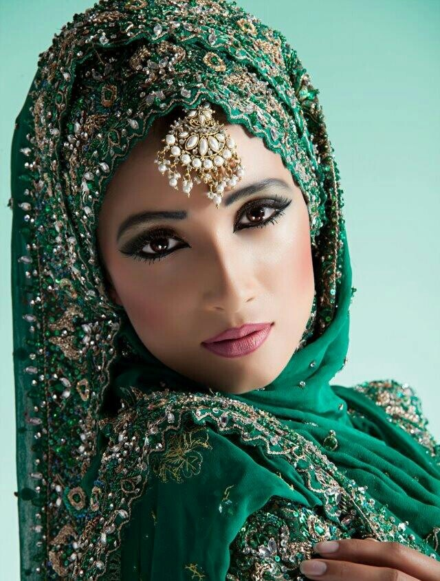 a spin on our typical desi wedding attire by wearing the dupatta like a hijab - LOVE. #green #shaadi #dulhan #makeup #weddings