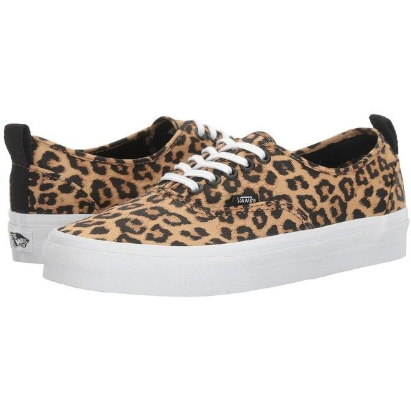 Vans Authentic PT (Leopard/True White) Shoes (€47) ❤ liked on Polyvore featuring shoes, white low tops, white leopard shoes, synthetic shoes, white low top shoes and leopard shoes