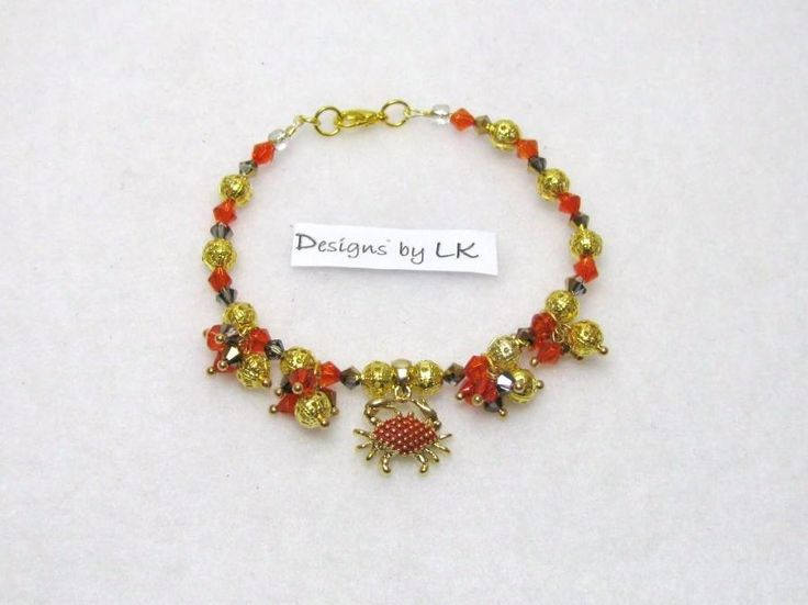 Golden Crab - Jewelry creation by Linda Foust