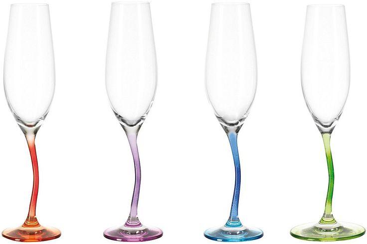 Einen bunten Frischekick bekommt ihre Tischdeko mit den farbigen Sektgläsern der Serie Modella. Die wellenförmigen Stiele sind keine optische Täuschung, sondern ein besonders originelles Designelement. Ob für Dinerpartys, einen spontanen Umtrunk oder einfach für jeden Tag, diese Gläser machen Spaß und sind ein echter Hingucker. Erhältlich im 4er Set in den Trendfarben orange, lila, grün und bla...