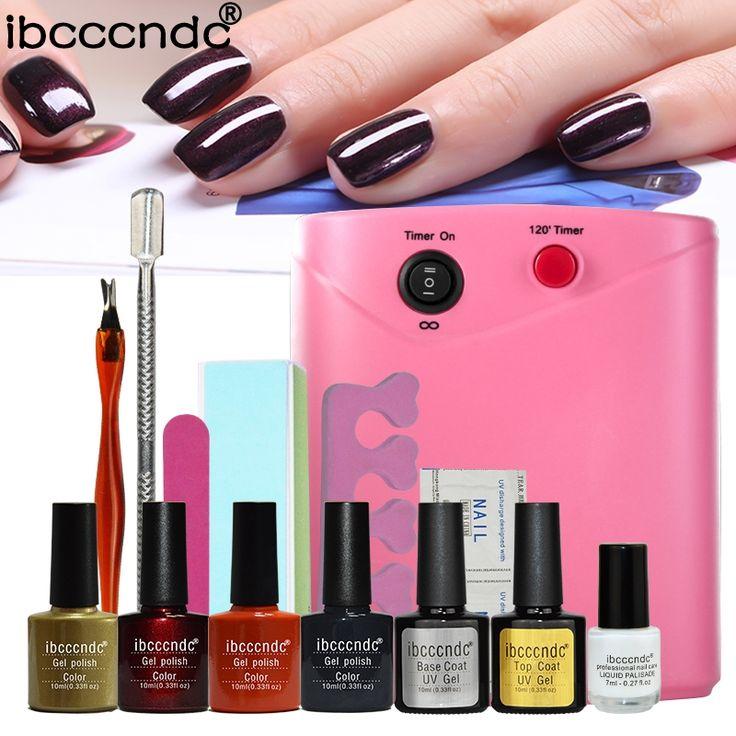 32.49$  Buy here - http://alinop.shopchina.info/go.php?t=32786292115 - Semi permanent Nail polish set&kit 36W UV Lamp+10ml uv Gel varnish nail base+latex liquid professional manicure tools   #bestbuy