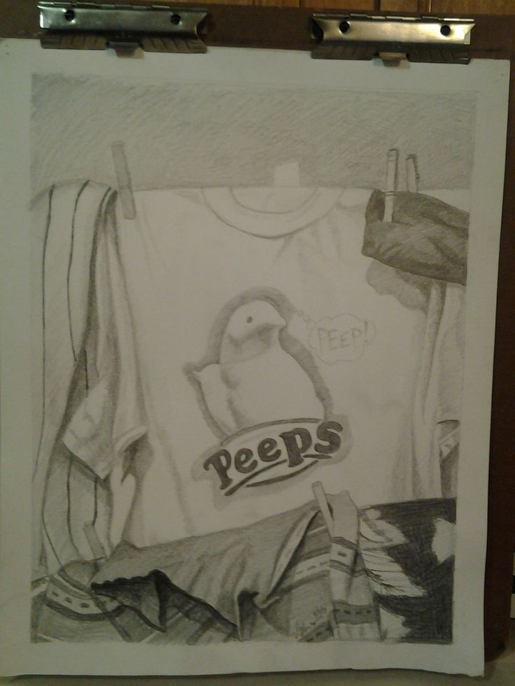 Portfolio preparation project drawing of clothes on a clothes line