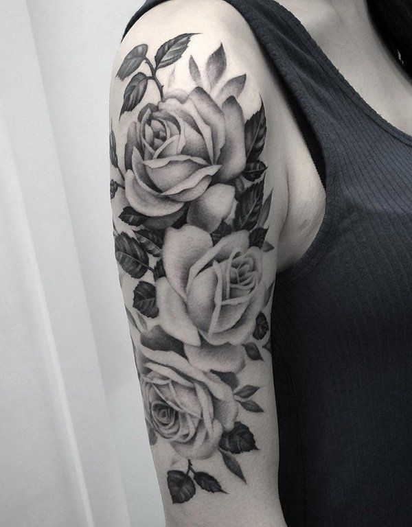 sleeve flower tattoo roses and leaves