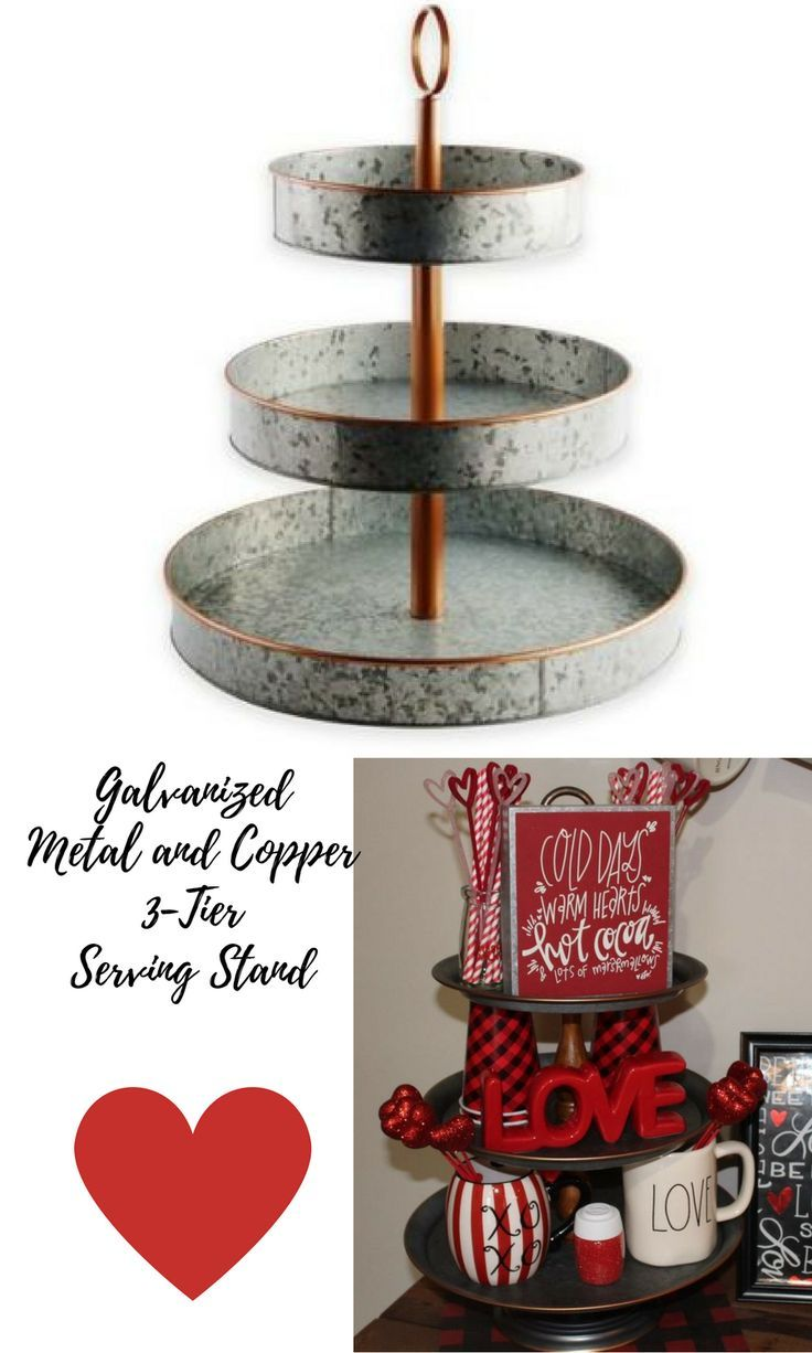 Galvanized Metal And Copper 3 Tier Serving Stand A Beautiful Showpiece In Your Home Ad 3tiermetalstand Serving Stand Tiered Stand Tray Display