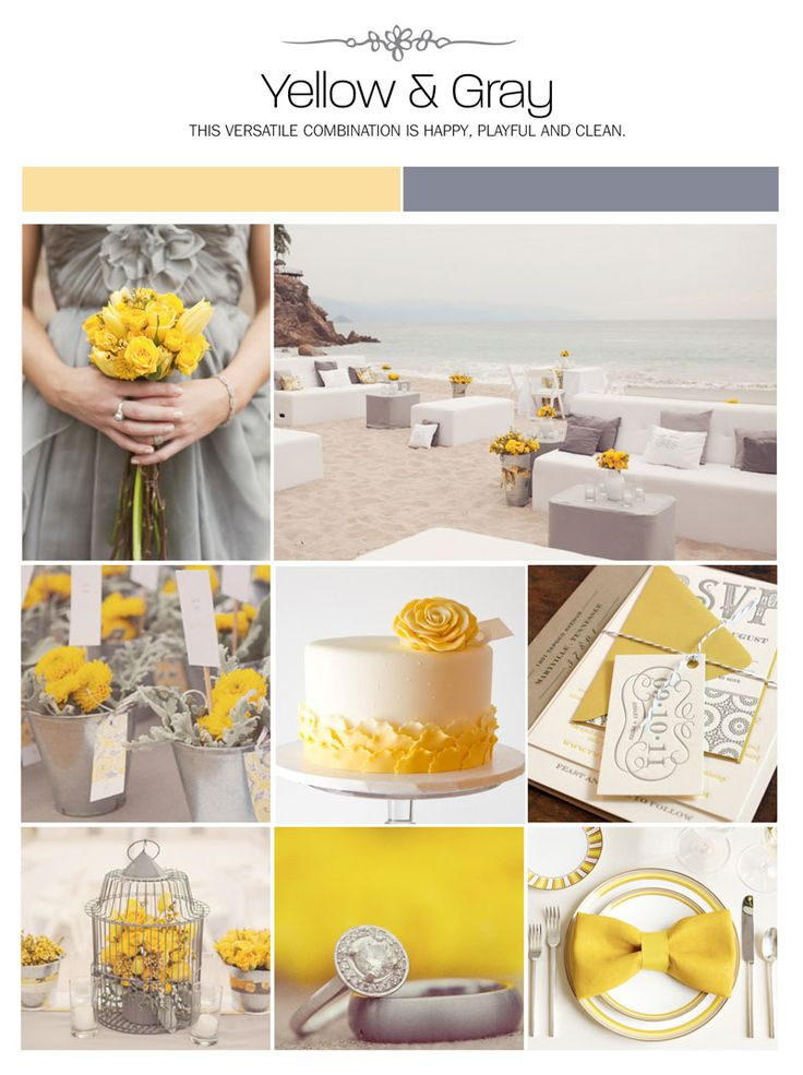 Yellow and gray wedding inspiration board, color palette, mood board, decor ideas