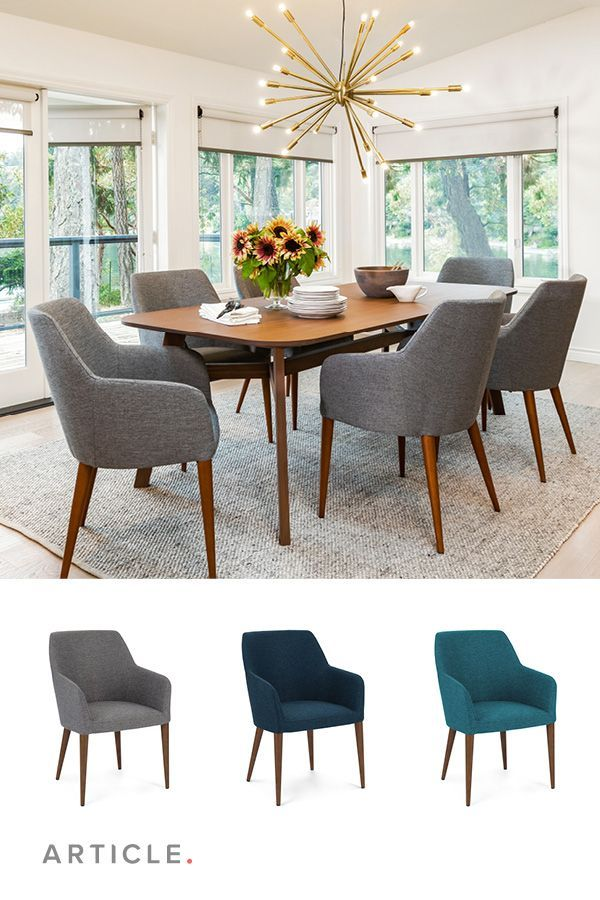 Eat Your Heart Out The Upholstered Feast Chair Features Slender Arms And Tapered Walnut Legs For Luxuriously Comfortable Dining Chairs Turquoise Dining Chairs
