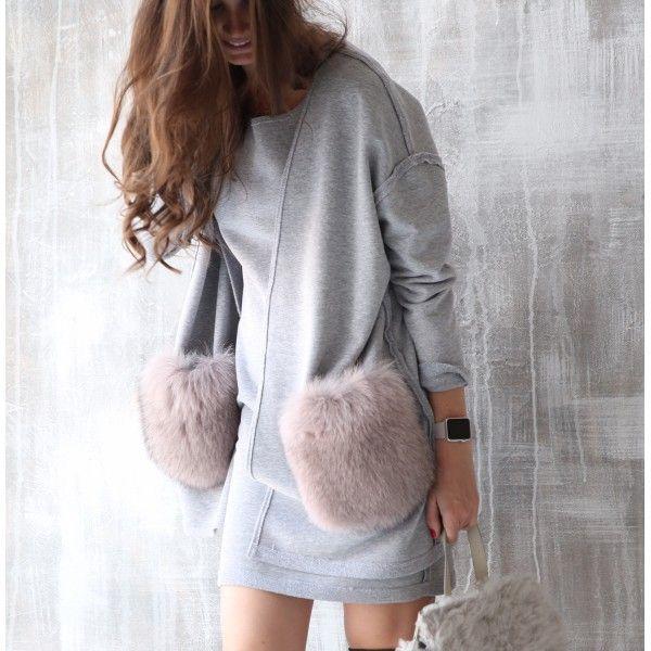 Achers grey cardigan with arctic fox fur pockets…