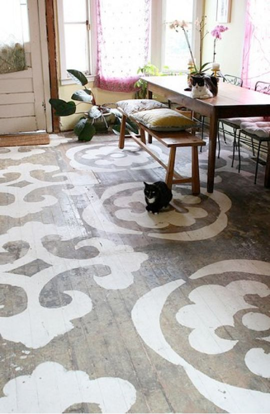 stenciled floorsPainted Wood, Dining Room, Ideas, Painting Wood Floors, Painting Floors, Stencils Floors, Porches, Design, Painted Floors