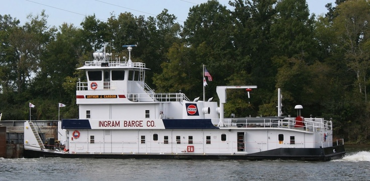 The M/V Arthur J. Carson works 24x7  primarily on the Cumberland river, August 2011
