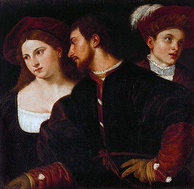 Le Titien (Tiziano Vecellio) - Renaissance Artist - Self-portrait with friends, Louvre Museum, Paris
