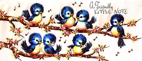 Baby Bluebirds Vintage Greeting Card by PaperPrizes on Etsy