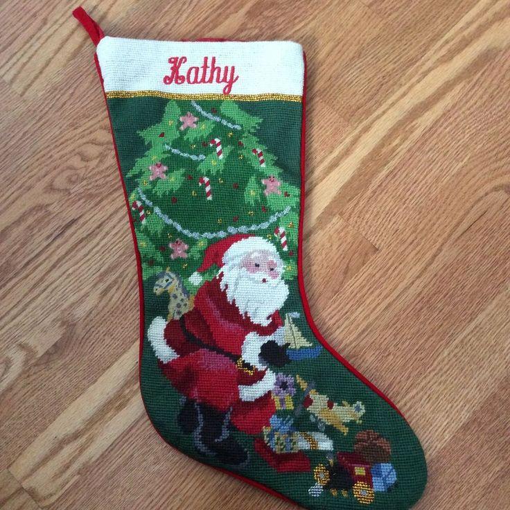 Kathy Personalized Needlepoint Christmas Stocking Santa