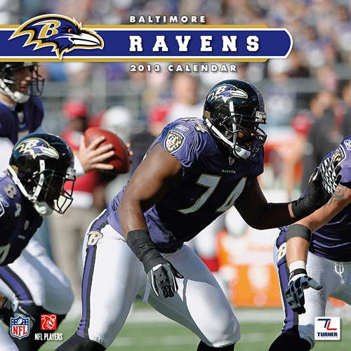 Baltimore Ravens Wall Calendar: Specially designed for the die-hard Baltimore Ravens fan, Turner Licensing presents the ultimate 2013 NFL wall calendar! Your favorite players are displayed in vivid action-packed images along with player bios, team trivia and noteworthy NFL historical dates every month.  $15.99  http://calendars.com/Baltimore-Ravens/Baltimore-Ravens-2013-Wall-Calendar/prod201300001276/?categoryId=cat00483=cat00483#