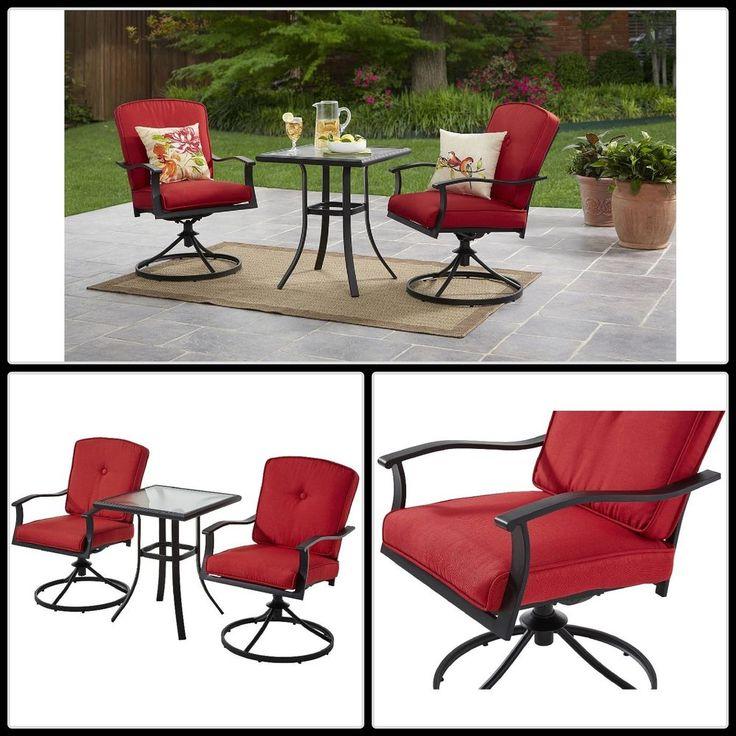 3 Piece Bistro Patio Set Table Chairs Furniture Outdoor Home Garden Steel Frame  #furniture #gardenideas #outdoorfurniture #patiofurniture