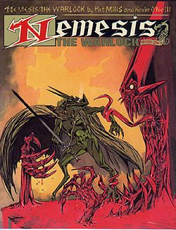 Nemesis the Warlock is a story created by writer Pat Mills and artist Kevin O'Neill which appeared in the pages of the weekly comics anthology 2000 AD. The title character, a fire-breathing demonic alien, fights against the fanatical Torquemada, Grand Master of the Terran Empire in Earth's distant future, and his attempts to exterminate all alien life. Grotesque, hyperbolic and violent, the series possesses a dark wit and biting satirical intent.