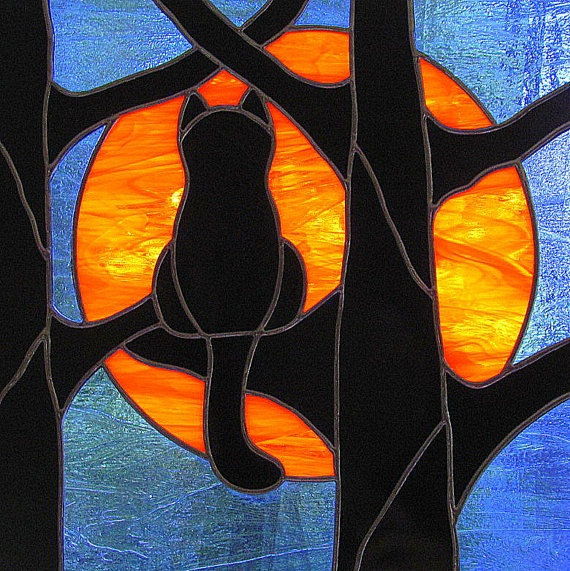 Stained Glass Black Cat Full Hunter's Moon par LivingGlassArt, $150,00