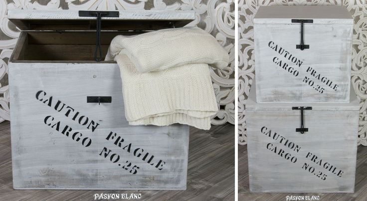 Zu finden bei: http://stores.ebay.de/pasyonblanc   Holztruhe Holzkiste Holzbox Spielzeugkiste Wäschetruhe weiß Vintage Loft Shabby