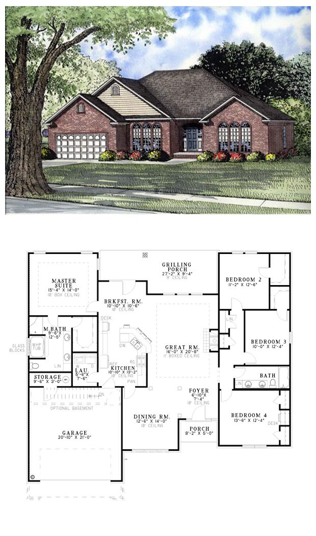 House Plan 62097 | Total living area: 2050 sq ft, 4 bedrooms & 2 bathrooms. Beautiful round topped windows give this home instant street appeal. At the heart of this design is the generous great room, perfect for entertaining. #european #houseplan