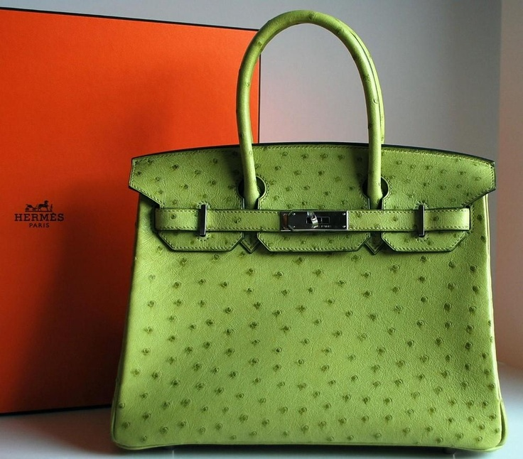Hermes Birkin Ostrich Green | Bag Addicted | Pinterest | Ostriches ...