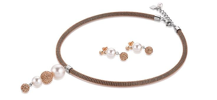 Swarovski Pearl Drop Rose Gold necklace and earrings 4833_1620 – coeur de lion jewellery