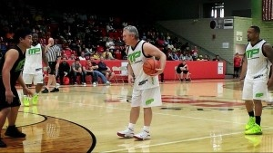 Former Ohio State coach Jim Tressel took to the hardwood for some charity basketball along with the likes of Trent Richardson and Maurice Clarett.