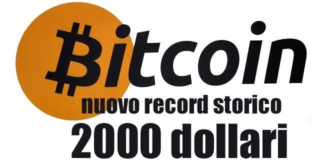 BITCOIN oltre i 2.000 dollari. La cripto valuta continua a correre mettendo a segno un nuovo record