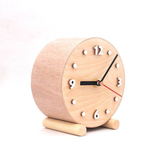 No Ticking Desk Wooden Clock Quiet Silent Small Wood Table