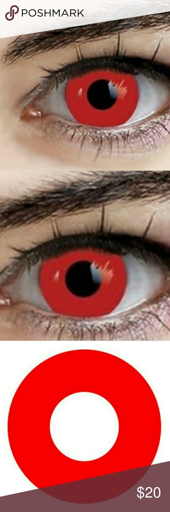 Cosplay Red Contacts Red contact lenses non prescription. No prescription needed.Great for cosplay, halloween,or just for freaking out your friends! 12 month contacts with proper care. A free contact lense case to store them in. Accessories Glasses