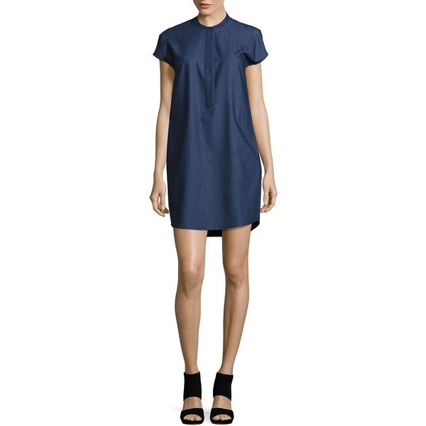 Calvin Klein Women's Chambray Shift Dress ($40) ❤ liked on Polyvore featuring dresses, light wash denim, chambray dress, calvin klein, calvin klein dresses, blue dress and short sleeve dress