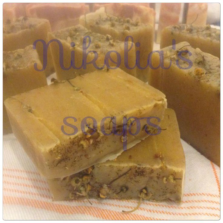 Chamomile olive oil soap Λαδι ελιάς, καρυδας, αμυγδαλελαιο, καστορέλαιο, εκχύλισμα και αφεψημα χαμομηλιου