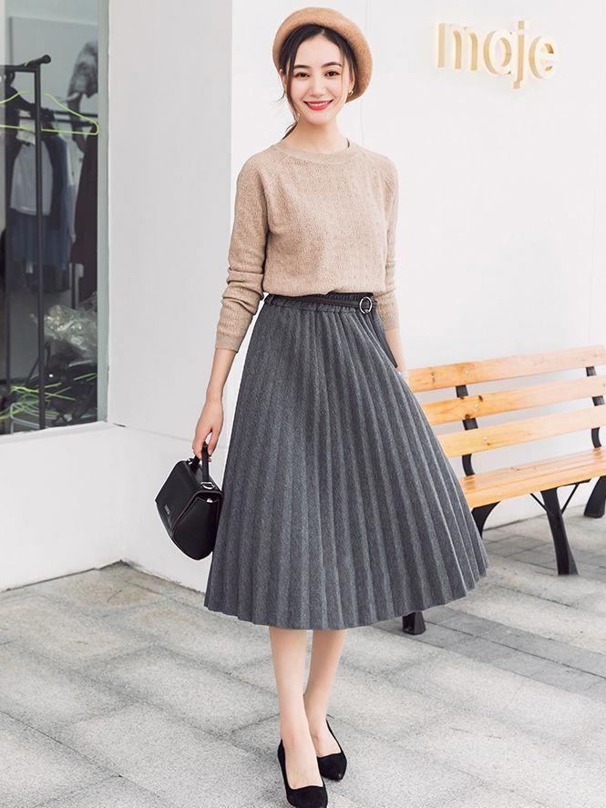 Wholesale Korean Design Pleated Midi Skirt With Belt