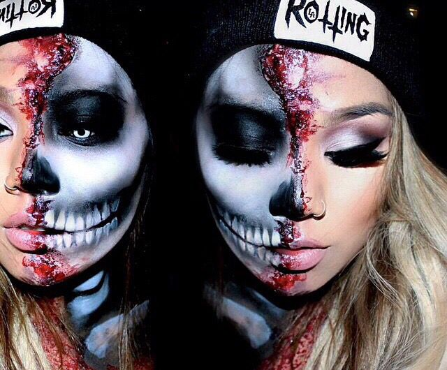 We love this half skull face with the other half in smokey eye make up #halloweenmakeup...x