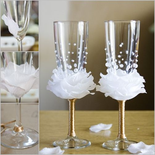 What a great idea for the wine glasses at a wedding or shower, white petals forming a rose. These would even make beautiful wedding favors.