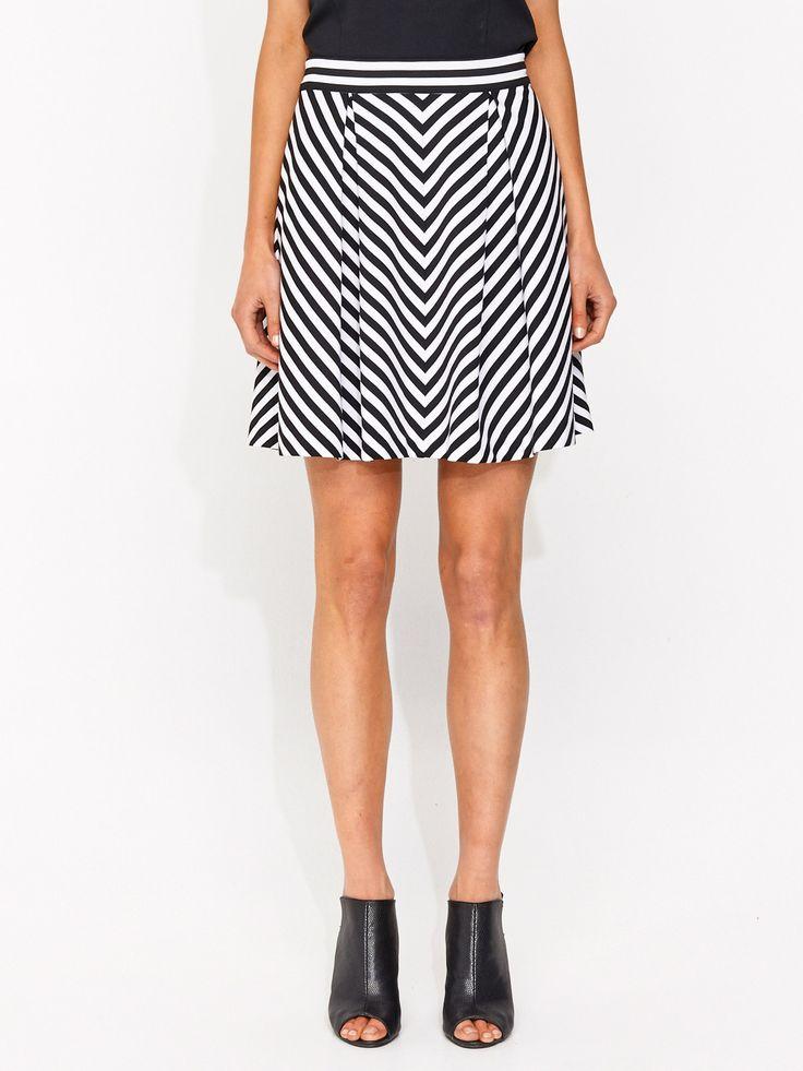 Chevron Mid Length Full Skirt | Portmans