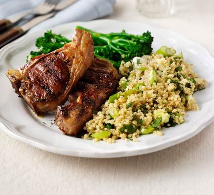 Quickly griddle marinated lamb on a sizzling grill then serve with a healthy grain salad with herbs and citrus