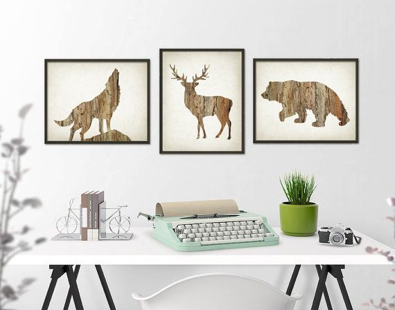 Deer Wolf Bear Wall Art Print Set of 3 - Wood Hunting Lodge Decor - Home Decor Art Poster - Rustic Cabin Wall Decor Set of Three