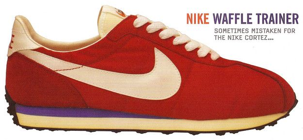 """The Nike Waffle Trainer was released in 1974, and now over three decades later, many of the new minimalist running shoes are reverting back to what you might call """"footwear primitivism,"""" a belated recognition of natural running. But notice that purple cushioning-support wedge--a sign of design-y excess to come for the entire running shoe industry. Let the footwear wars begin!"""