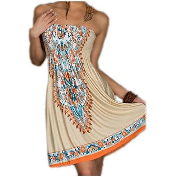 Women's Sexy Bohemian Beach Dresses ($7.65) ❤ liked on Polyvore featuring dresses, khaki, sexy beach dresses, boho beach dress, sexy brown dress, sexy day dresses and boho style dresses