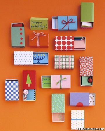 DIY #Matchbox Gifts ook leuk om aan de muur te hangen! | martha stewart
