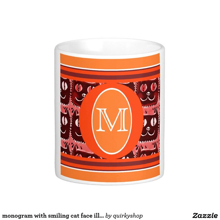 monogram with smiling cat face illustrations