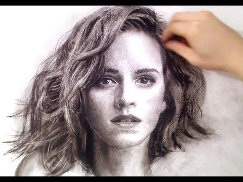 A great way to watch the development of a charcoal portrait drawing. (2:40)